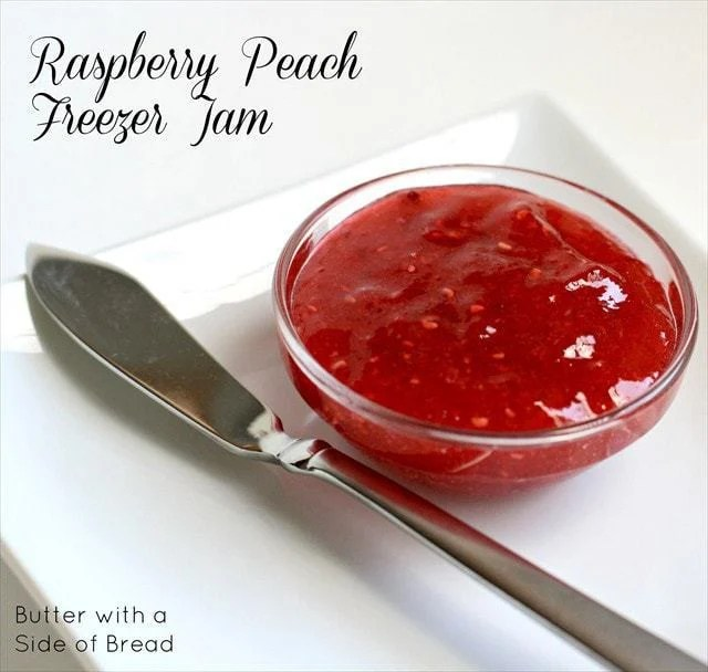 Anyone still have peaches left? I hope so! Next time you're at Costco, grab some raspberries too so that you can make this lovely freezer jam! I love raspberry jam but all the seeds are kind of annoying. The peach adds a nice flavor, plus spaces out the seeds a bit, so it not only has great flavor, but a nice consistency as well.