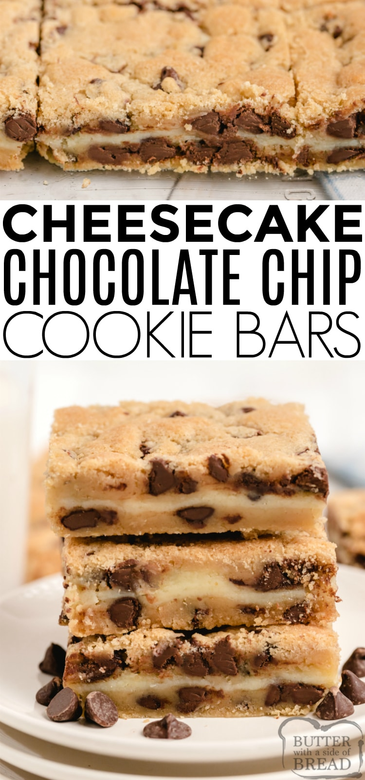 Cheesecake Chocolate Chip Cookie Bars combine a delicious chocolate chip cookie recipe with a layer of cheesecake to make a dessert that is the best of both worlds! This amazing bar cookie recipe is simple to make and a hit at every party!