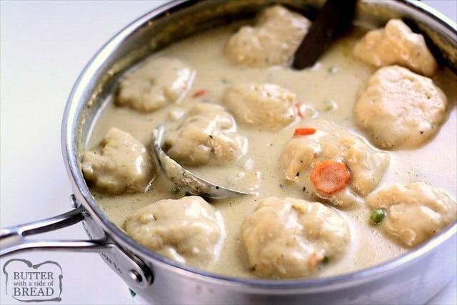 Chicken & Dumplings recipe made with juicy chicken, fresh vegetables and homemade biscuit dumplings. Seriously THE BEST you've ever tasted! Simple tips to make this the best chicken & dumplings dinner ever.