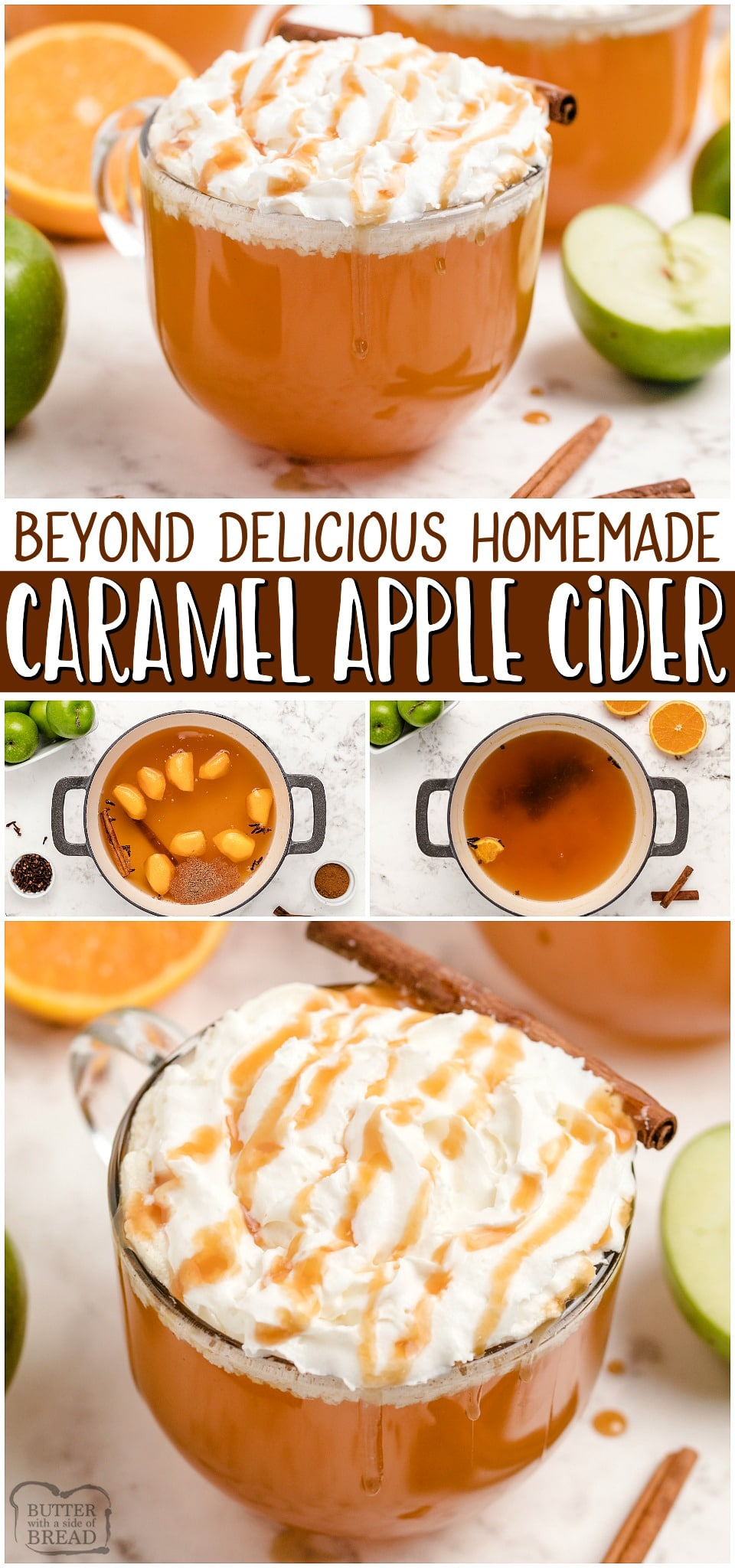 Caramel Apple Cider recipemade with apple juice, cinnamon, cloves & nutmeg! Spiced Apple Cider topped with fresh cream and a drizzle of caramel for a hot & delicious Fall treat!#apples #applecider #beverage #hotdrink #Fall #cider #caramel #easyrecipe from BUTTER WITH A SIDE OF BREAD