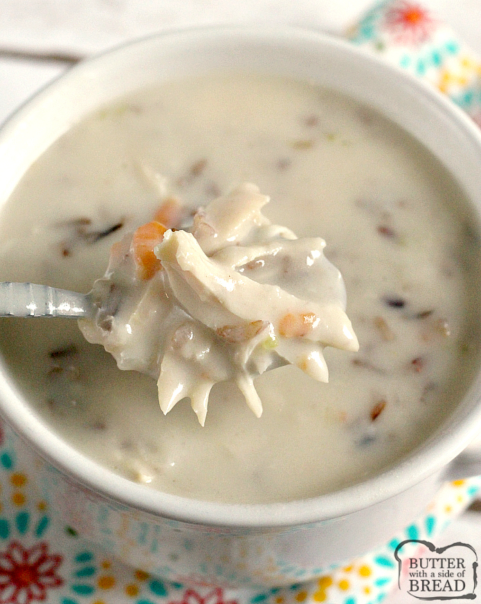 Creamy Chicken Wild Rice Soup is a simple, broth based soup recipe full of chicken, wild rice, vegetables and cream. This hearty and delicious soup is a family favorite!