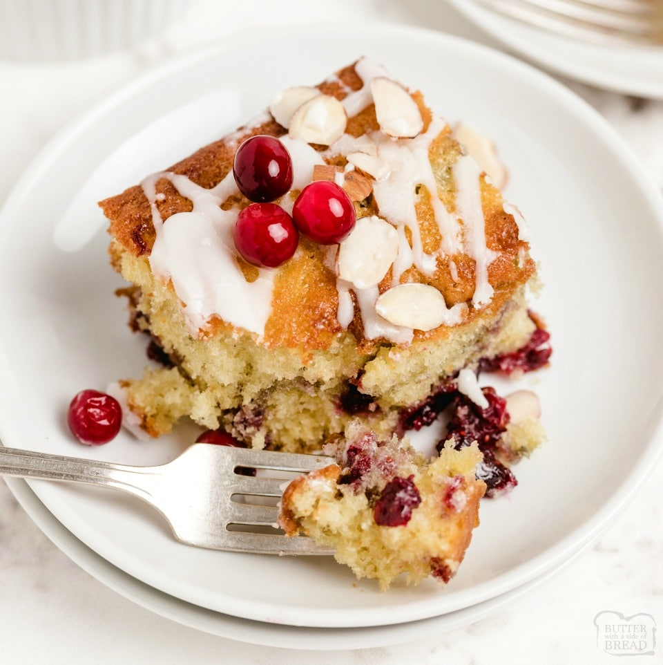Cranberry Coffee Cake made with fresh cranberries, cinnamon, nutmeg & a simple breakfast cake batter. Perfect cranberry coffee cake recipe for holiday mornings!