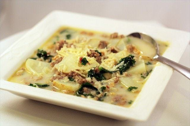 Zuppa Toscana, Italian Sausage Potato Soup, Butter with a Side of Bread