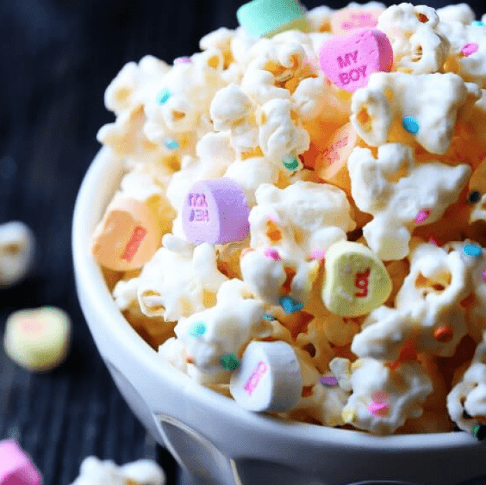 White Chocolate Valentine's Candy Popcorn for Easy Valentine's Dessert Recipes