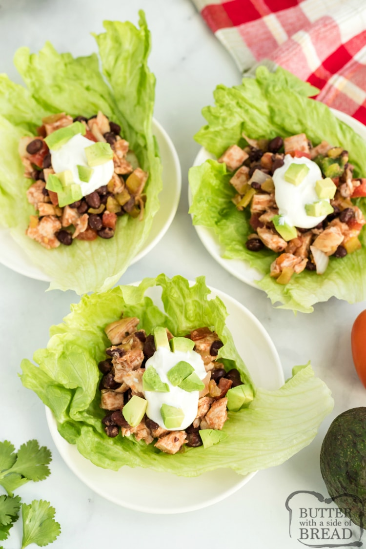 Mexican Chicken Lettuce Wraps are full of chicken, black beans and tons of flavor. These delicious high-protein, low-carb lettuce wraps are healthy and delicious and can be served as an appetizer or as a main dish.