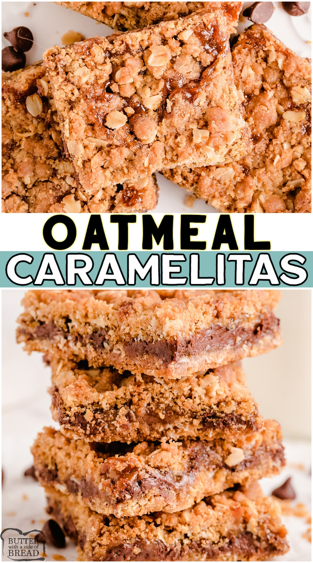 Oatmeal Caramelitas are an incredible oatmeal chocolate dessert bar with caramel! Layers of oats, brown sugar, butter and chocolate chips with a delightful layer of gooey caramel baked inside. #caramel #oatmeal #barrecipe #caramelitas #easyrecipe from BUTTER WITH A SIDE OF BREAD