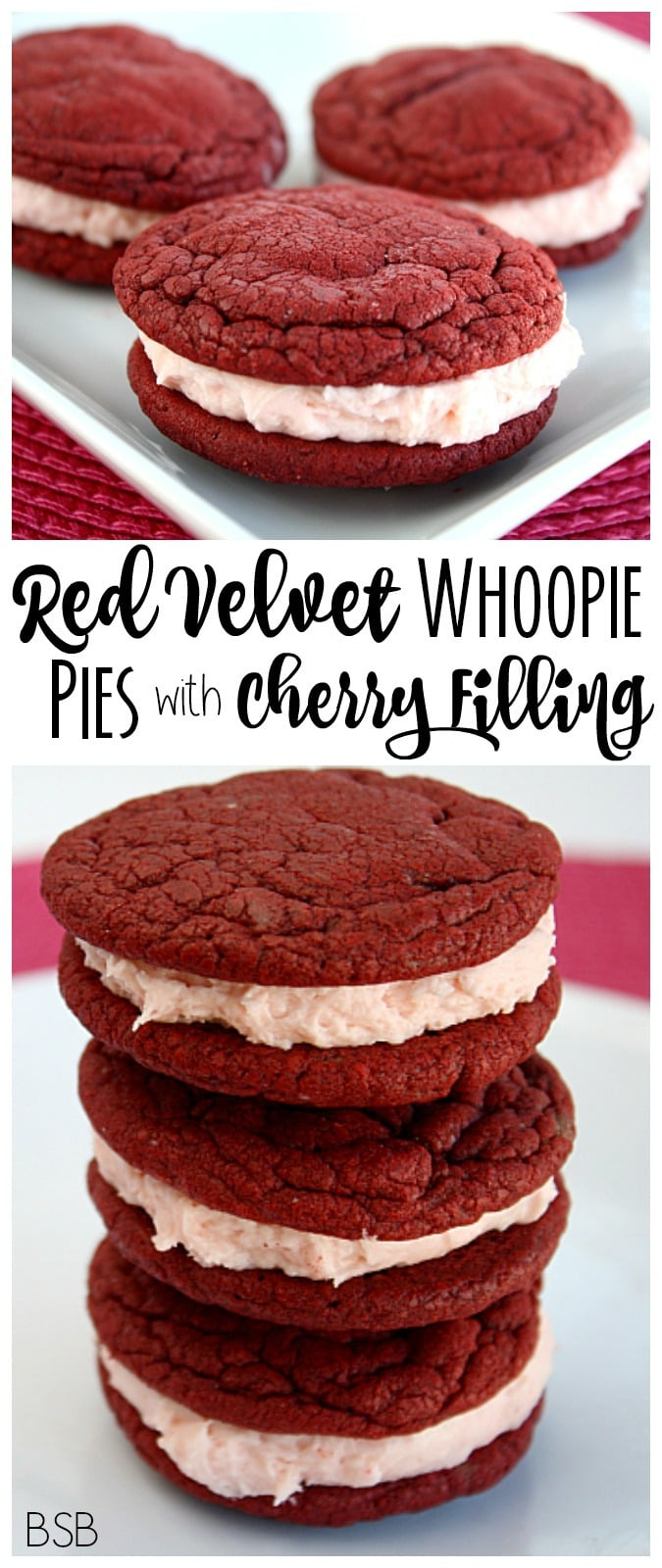 These red velvet whoopie pies with marshmallow filling are an easy and delicious treat. With the cherry marshmallow filling, they add a touch of flavor and romance, making them perfect for Valentine's Day!