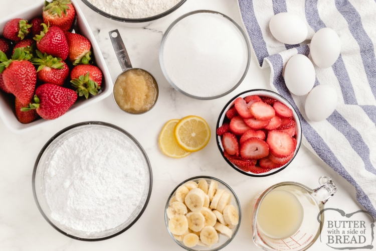 Ingredients in strawberry banana bread