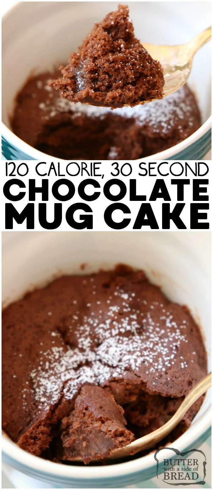 100 Calorie Chocolate Mug Cake Recipe made with common ingredients in 30 seconds! Soft, sweet & fudgy low-cal chocolate mug cake perfect for cravings.  #mugcake #cake #chocolate #lowcal #sweet #lowcalorie #dessert #recipe from BUTTER WITH A SIDE OF BREAD