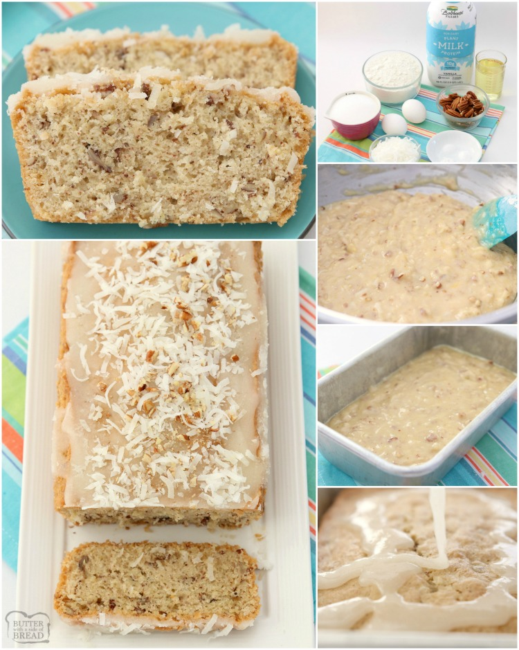 Sweet Coconut Bread is a moist sweet bread made with milk, flour, coconut and pecans. Topped with a sweet coconut glaze, flake coconut and more pecans, you won't be able to resist a slice!