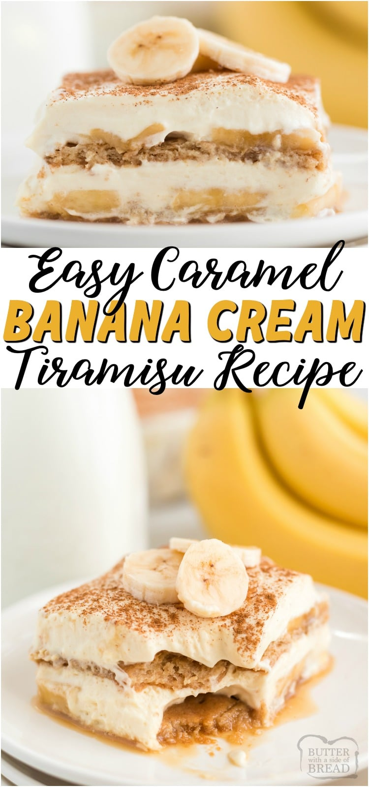 Easy recipe for Caramel Banana Cream Tiramisu that uses graham crackers and a pudding-caramel mixture in layers. Comes together so fast & is delicious!