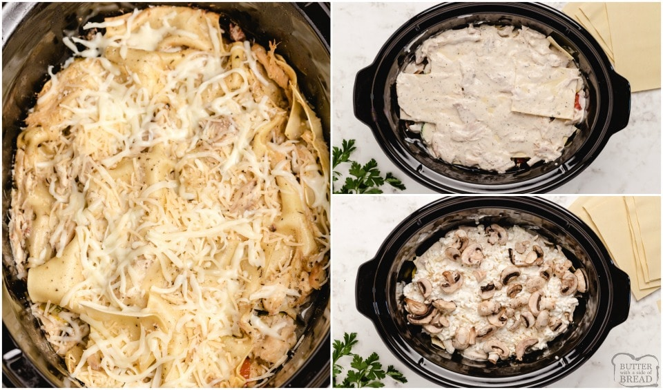 How to make slow cooker chicken alfredo lasagna