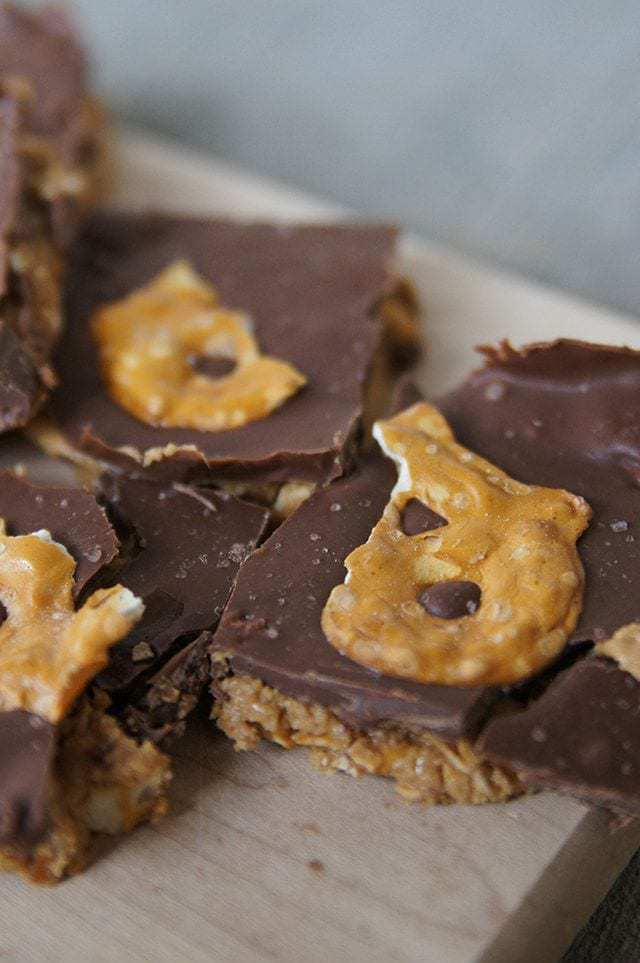 peanut butter and pretzel bars at butter with a side of bread