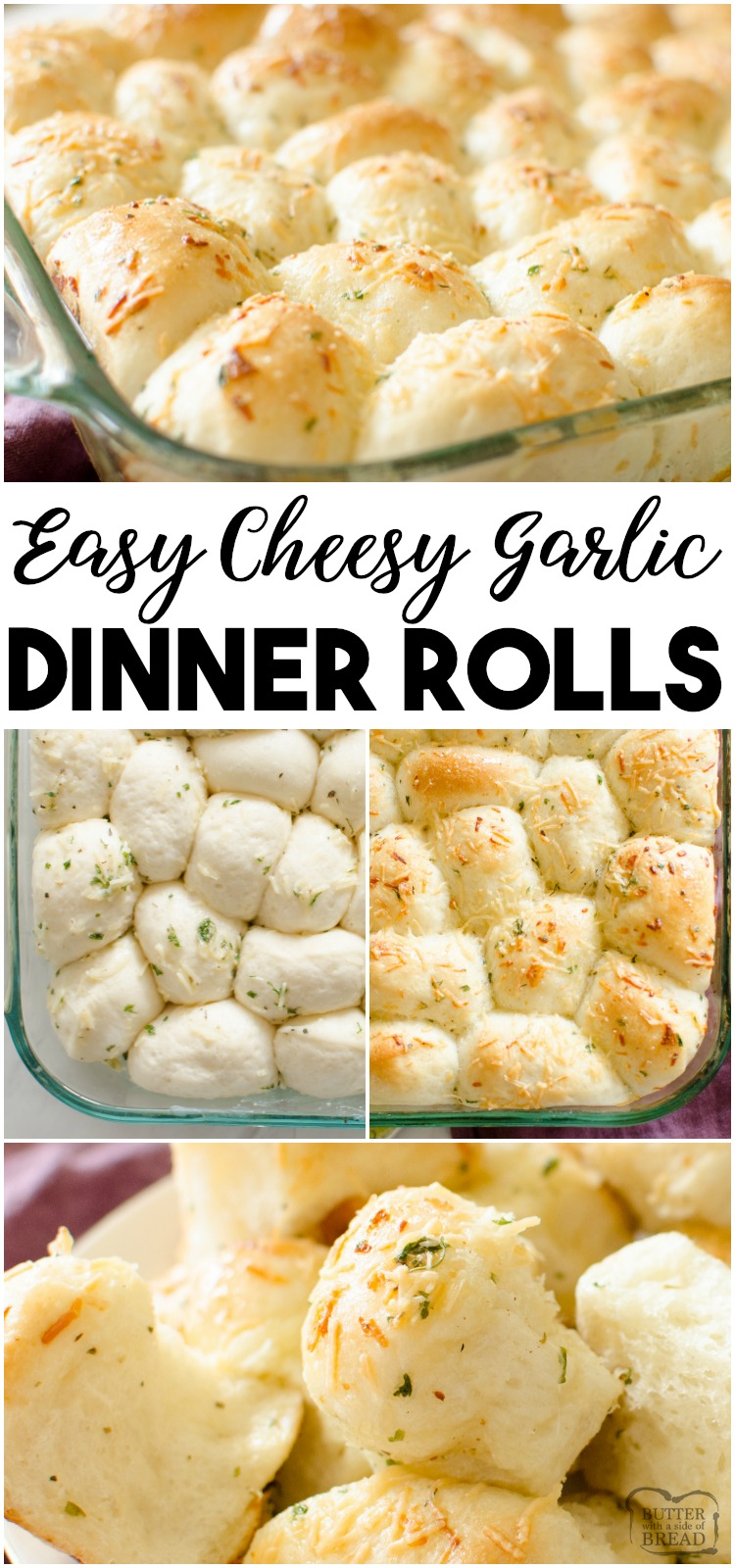 Easy Parmesan Garlic Dinner Rolls made from frozen rolls and tossed with butter and seasonings. Bakes in under 30 minutes, everyone loves these soft, buttery dinner rolls! #bread #dinner #rolls #butter #cheese #baking #food #recipe from BUTTER WITH A SIDE OF BREAD