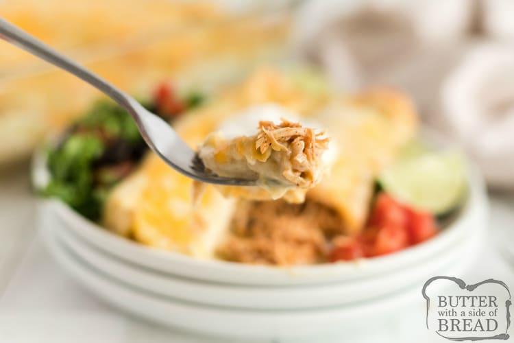 Bite of chicken enchilada recipe