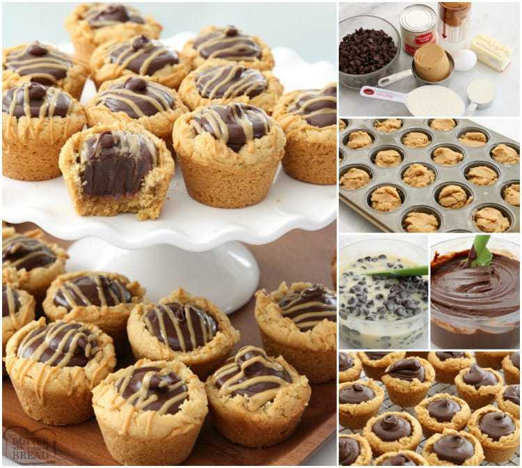 Peanut Butter Fudge Cups are peanut butter cookies filled with a simple chocolate fudge! Delicious flavor combination in these amazing treats.
