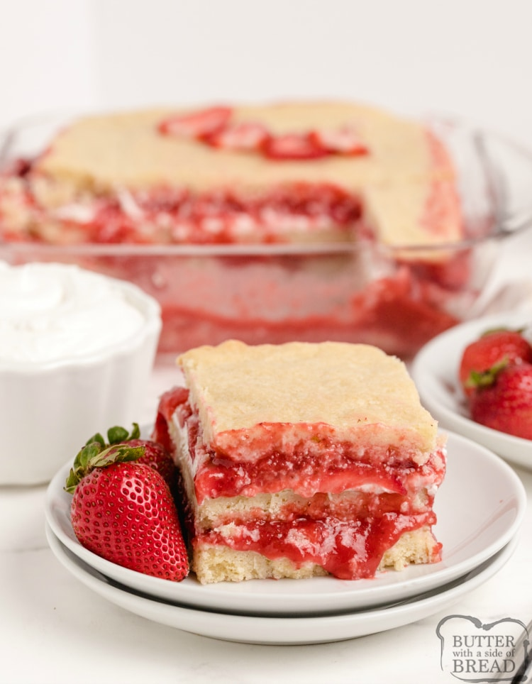 Strawberry dessert with sugar cookie bar layers