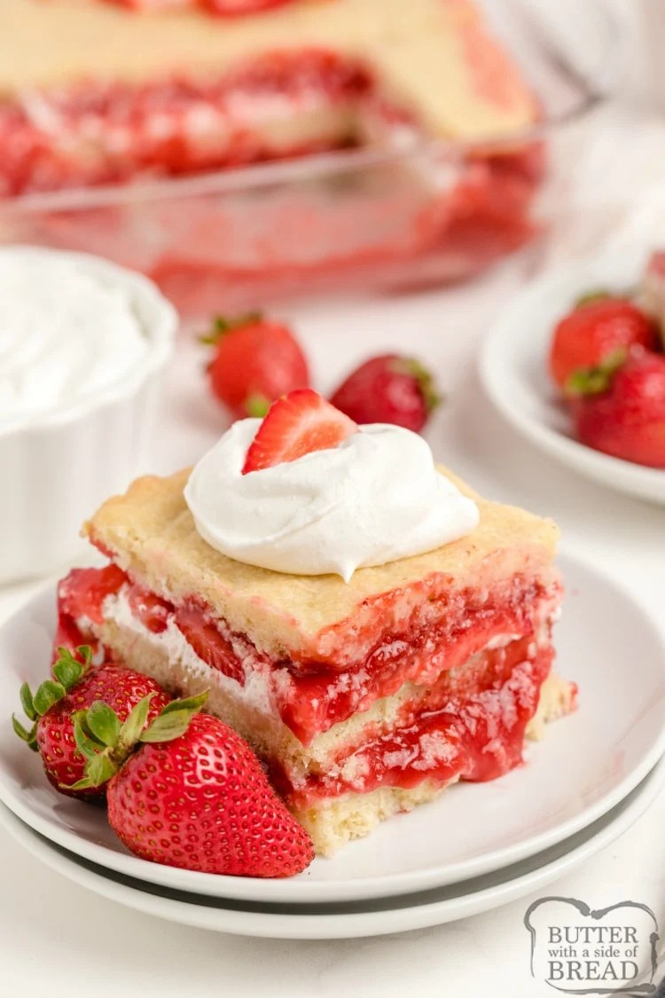 Sugar cookies layered with strawberries and whipped cream