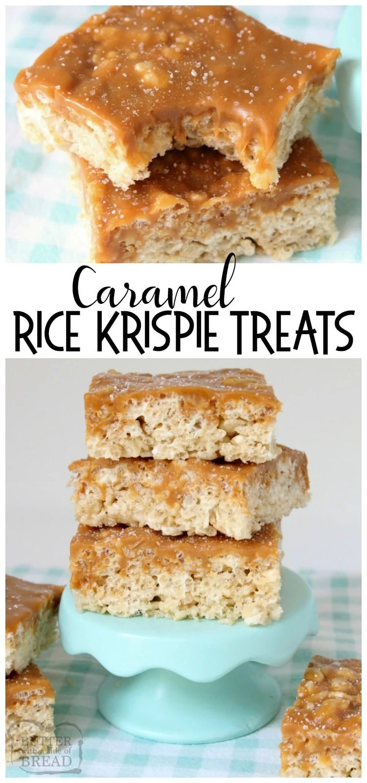 Caramel Rice Krispie Treats are soft, chewy marshmallow squares topped with smooth, rich caramel for an incredible take on traditional rice krispie treats. Easy rice krispie treat recipe from Butter With A Side of Bread