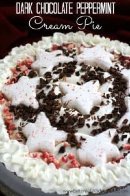DARK CHOCOLATE PEPPERMINT CREAM PIE {Made with Peppermint Marshmallow Peeps!} Butter with a Side of Bread