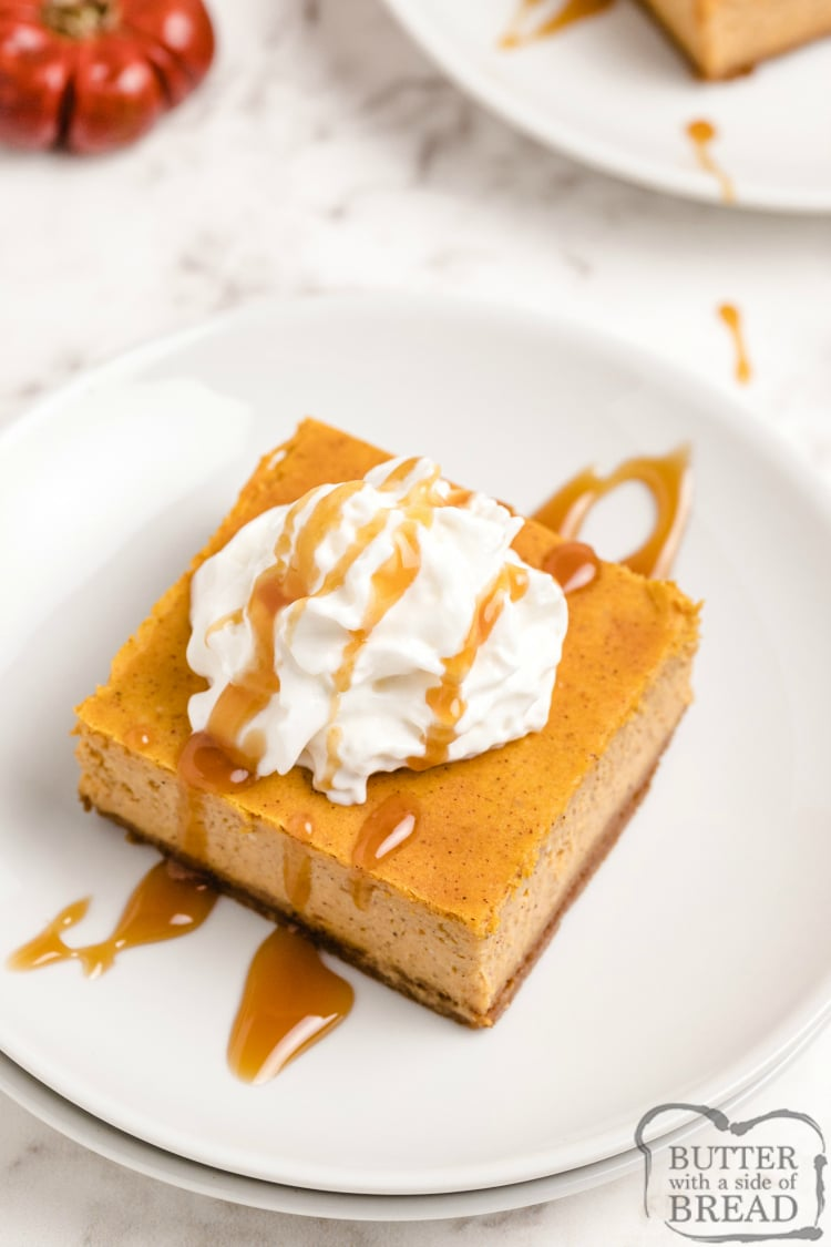 Pumpkin cheesecake bars topped with whipped cream and caramel