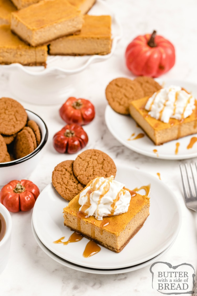 Pumpkin Cheesecake Bars made with a gingersnap crust, a creamy pumpkin cheesecake layer & topped with caramel sauce. Easy pumpkin cheesecake recipe even more delicious than pumpkin pie!