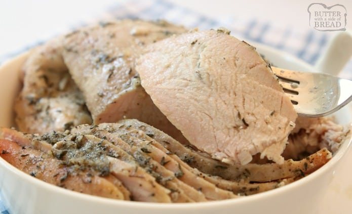 Easy Slow Cooker Turkey Breast recipe made with butter, a sliced apple and a basic mix of traditional seasonings. Crock pot turkey breast recipe perfect for any time of the year!