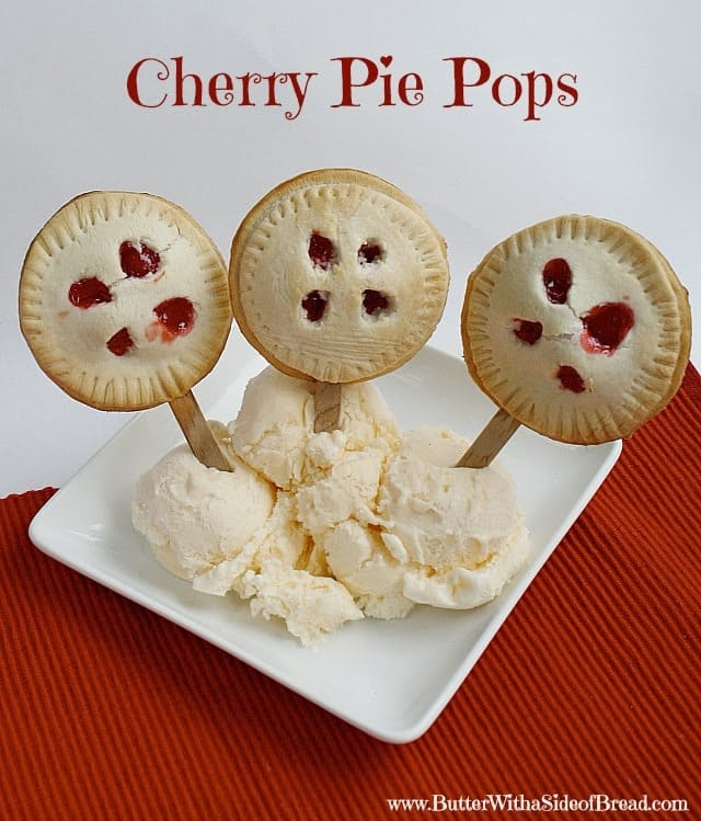 I actually found this recipe on a Crisco container and thought it would be perfect for the kid dessert on Thanksgiving! These pie pops are so easy to make and they are perfect portions for kids! Adults can eat them too of course, but you may want to eat more than one! I used cherry pie filling, but you could use any type of pie filling and they would be delicious!