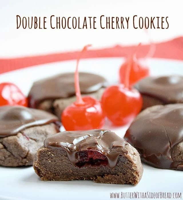 Double Chocolate Cherry Cookies are soft and thick with a maraschino cherry baked in the middle and a delicious chocolate ganache on top!