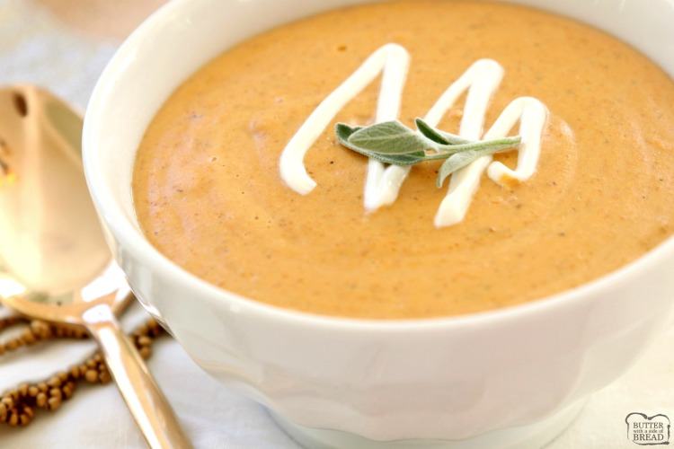 Roasted Butternut Squash Soup made easy in 30 minutes! Creamy, flavorful and healthy butternut squash soup recipe perfect for healthy dinners and lunches.