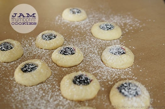 easy jam thumbprint cookies, butter with a side of bread