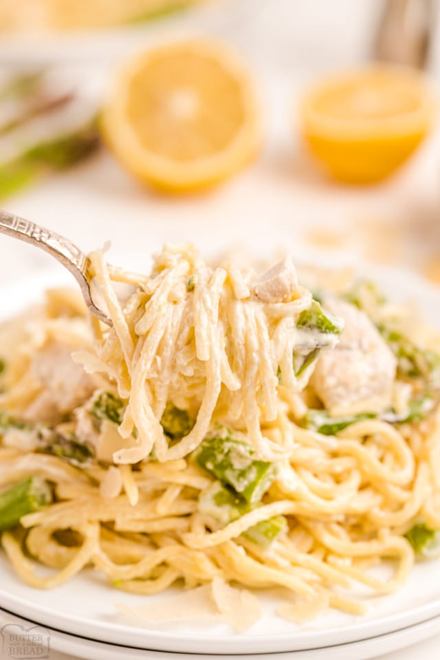 Creamy Lemon Chicken Pasta with asparagus recipe