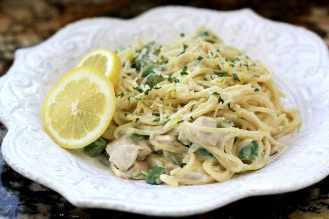 Creamy Lemon Chicken Pasta with Asparagus made easy with juicy chicken, fresh lemon and vegetables and a light, creamy sauce. Perfect weeknight chicken dinner.