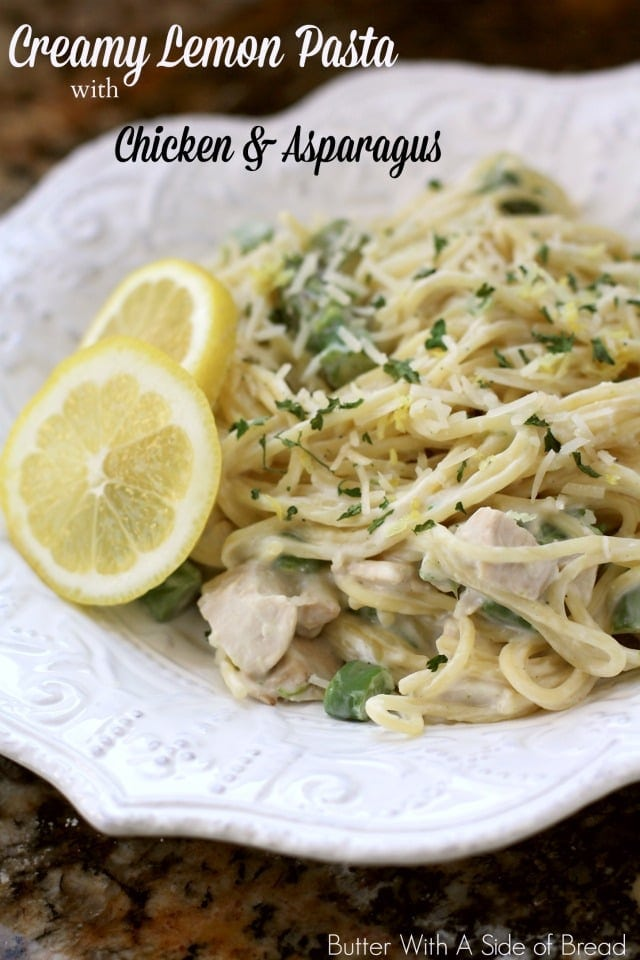 Creamy Lemon Chicken Pasta with Asparagus made easy with juicy chicken, fresh lemon and vegetables and a light, creamy sauce. Perfect weeknight lemon chicken dinner.