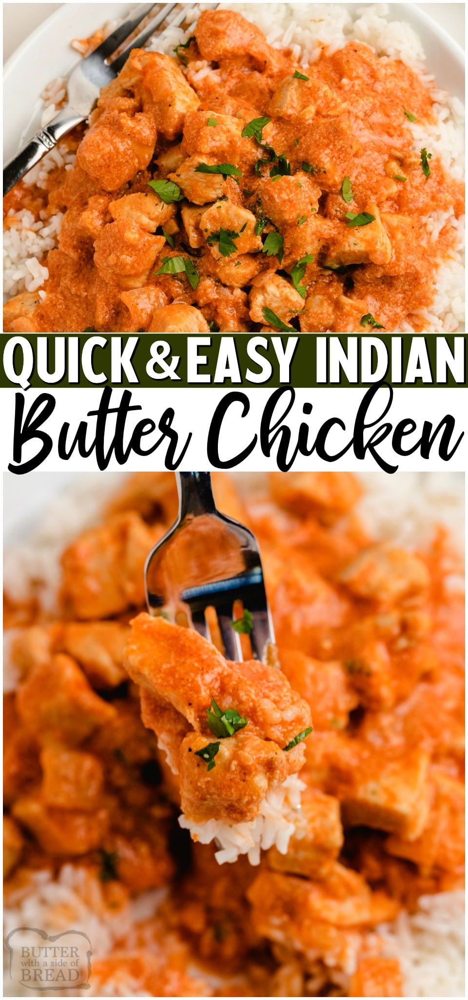 Easy Indian Butter chicken recipe made with a simple blend of spices, onion, garlic, tender chicken, tomato sauce & butter, of course! Serve this flavorful Butter chicken over rice with a side of naan! #chicken #maindish #dinner #Indian #Butter #easyrecipe from BUTTER WITH A SIDE OF BREAD