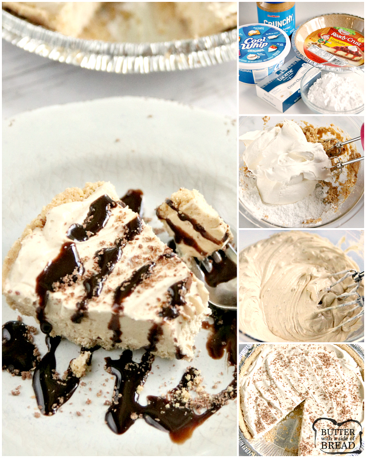 Step by Step instructions on how to make a no bake peanut butter pie