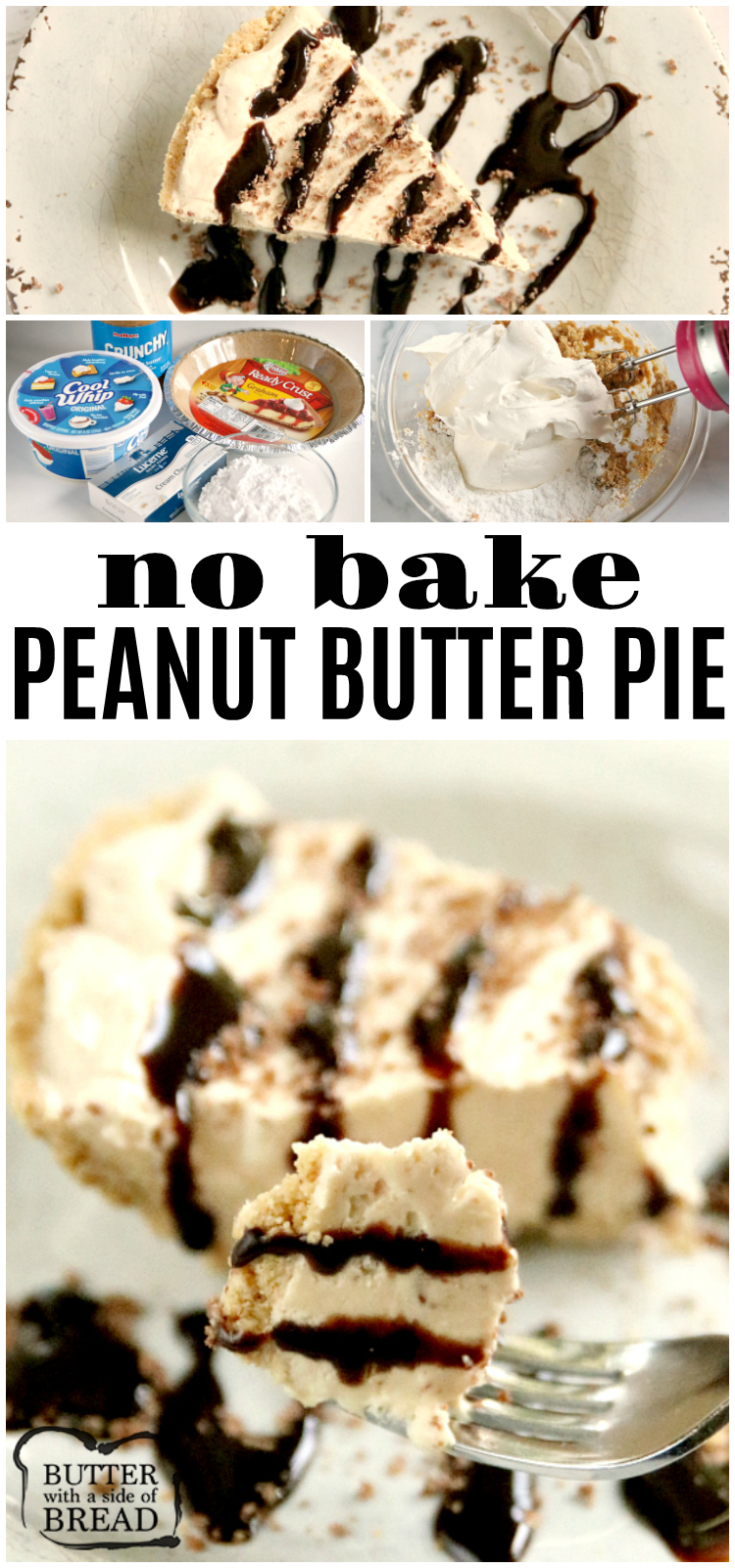 Frozen Peanut Butter Pie is cold, creamy and easy to make with only five ingredients! This no bake peanut butter pie recipe is a family favorite dessert that only takes a few minutes to make!