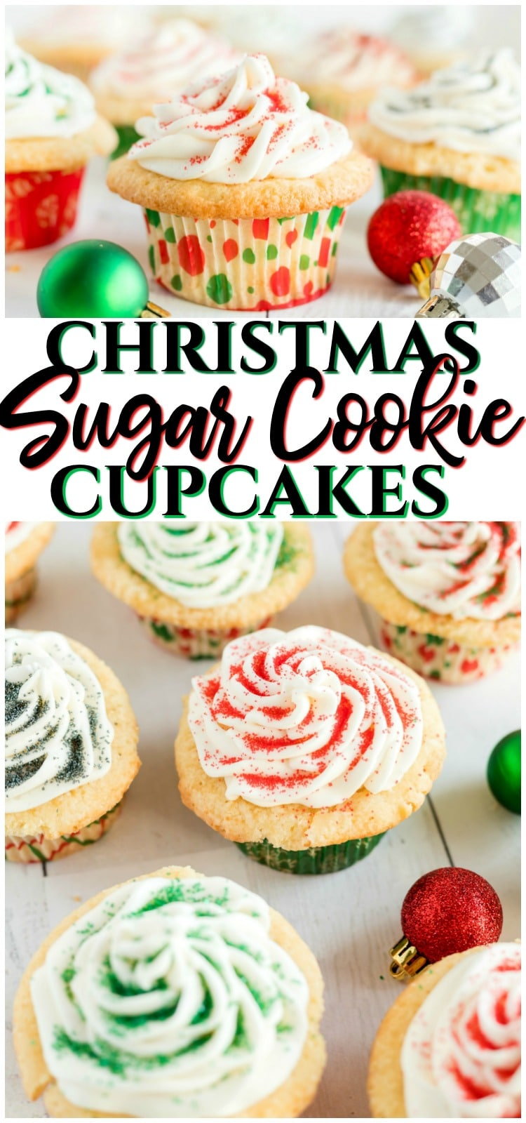 Sugar Cookie Cupcakes are cupcakes that taste just like sugar cookies! The best flavors of two incredible desserts combine in these soft and sweet vanilla frosted cupcakes. #sugarcookies #cupcakes #baking #dessert #Christmas #holidays #dessert #recipe from BUTTER WITH A SIDE OF BREAD