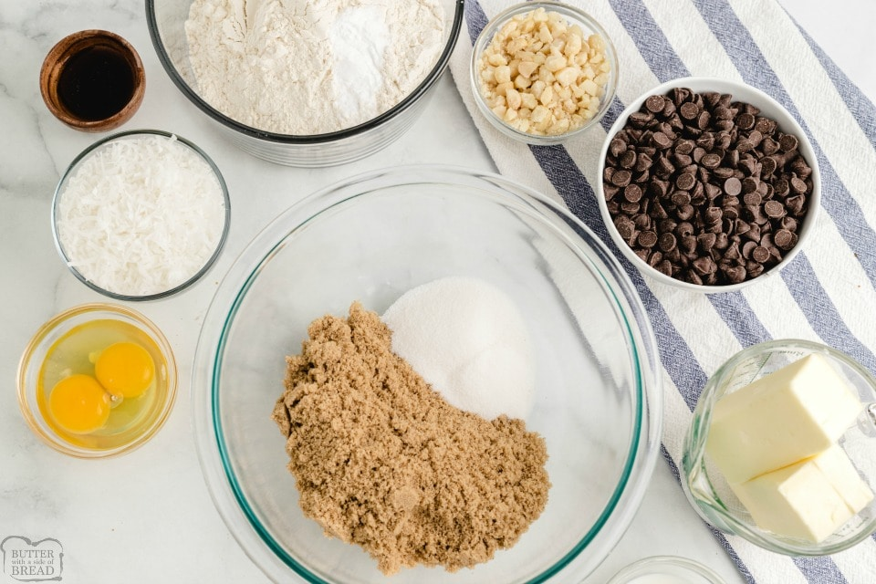 Coconut Macadamia Nut Chocolate Chip Cookies ingredients