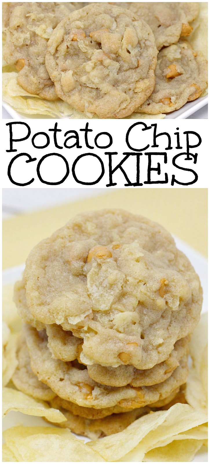 Potato Chip Cookies are the perfect combination of salty and sweet! The butterscotch chips and potato chips pair together so well in these cookies! Easy cookie recipe from Butter With A Side of Bread