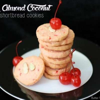 CHERRY ALMOND COCONUT SHORTBREAD COOKIES
