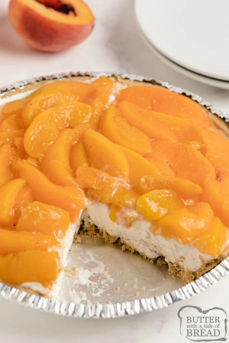 No Bake Peaches and Cream Pie is one of my favorite summer desserts with fresh peaches. The no-bake cheesecake filling in a graham cracker crust is topped with a simple peach sauce mixed with fresh peaches.