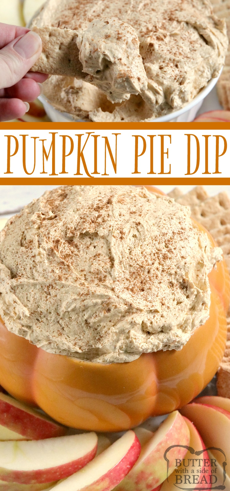 Pumpkin Pie Dip is perfect for dipping apples and graham crackers and is made in just a few minutes with only five simple ingredients! This easy pumpkin dip is made with an entire can of pumpkin for tons of pumpkin flavor.