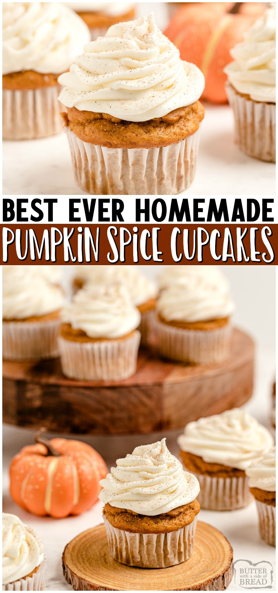 Pumpkin Spice Cupcakes with Cream Cheese Frosting are the perfect little treats for celebrating Fall! Easy recipe that starts with yellow cake mix and yields soft, moist perfectly spiced pumpkin cupcakes! #cupcakes #pumpkin #pumpkinspice #psl #baking #dessert #easyrecipe from BUTTER WITH A SIDE OF BREAD