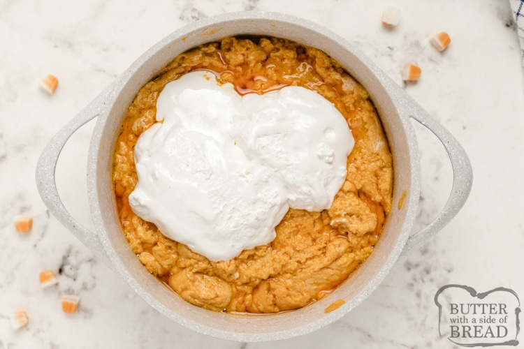Adding marshmallow cream to the recipe