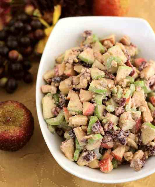 Waldorf Salad is a must for us during the holidays! The apples and cinnamon paired with the Greek Yogurt dressing is completely delicious!