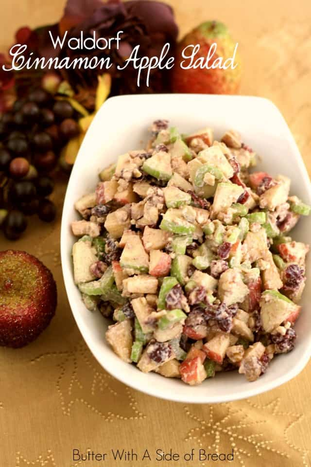 This Waldorf Salad is the perfect accompaniment to your Thanksgiving table. Made with diced green & red apples, celery, dried cranberries and walnuts topped with a cinnamon vanilla greek yogurt dressing it's sweet, light and the perfect addition to compliment the other dishes.
