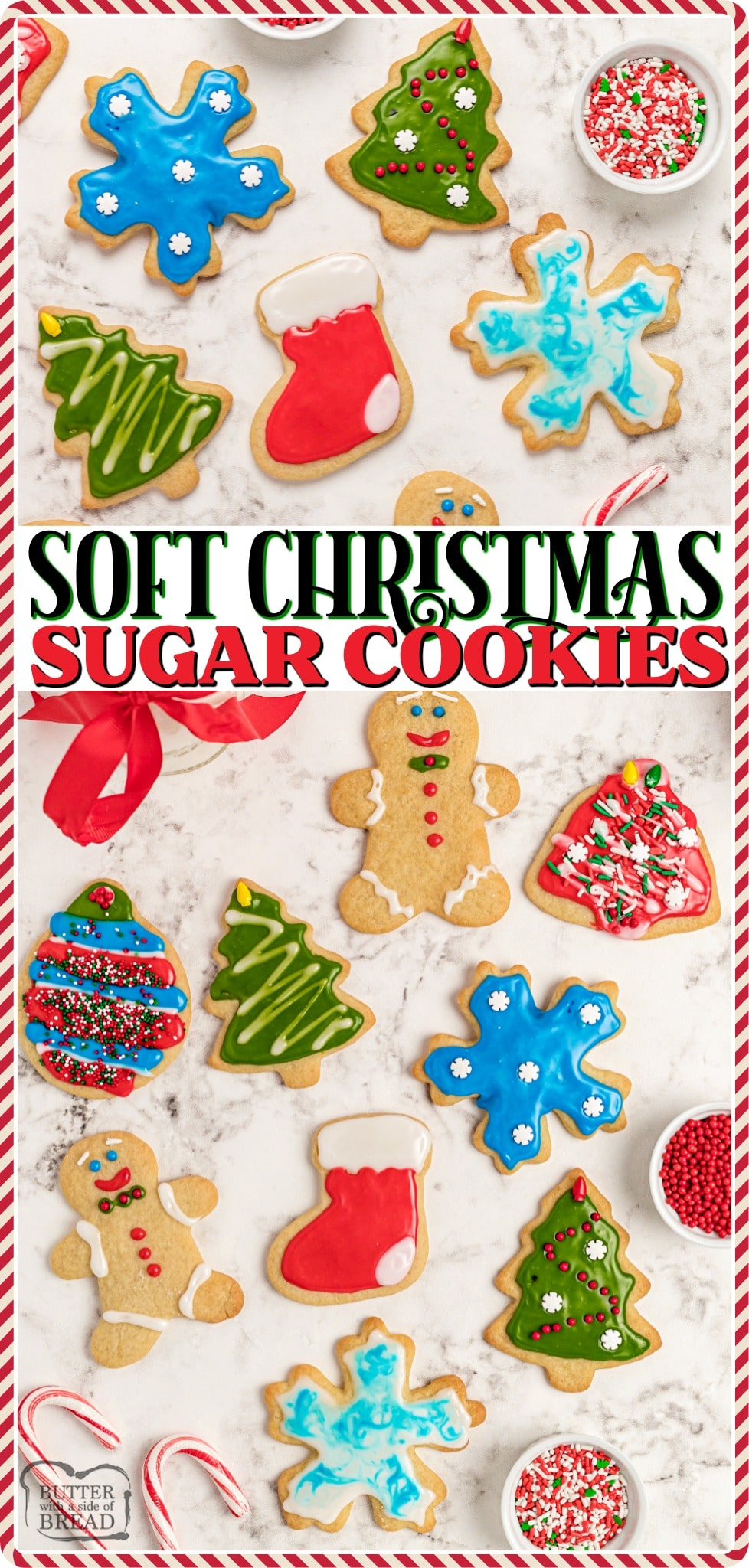Soft Christmas Sugar Cookies made with classic ingredients & frosted with a simple Royal icing. Perfect holiday Sugar Cookie recipe for festive Christmas cut out cookies! #Christmas #cookies #cutout #sugarcookies #royalicing #baking #easyrecipe from BUTTER WITH A SIDE OF BREAD