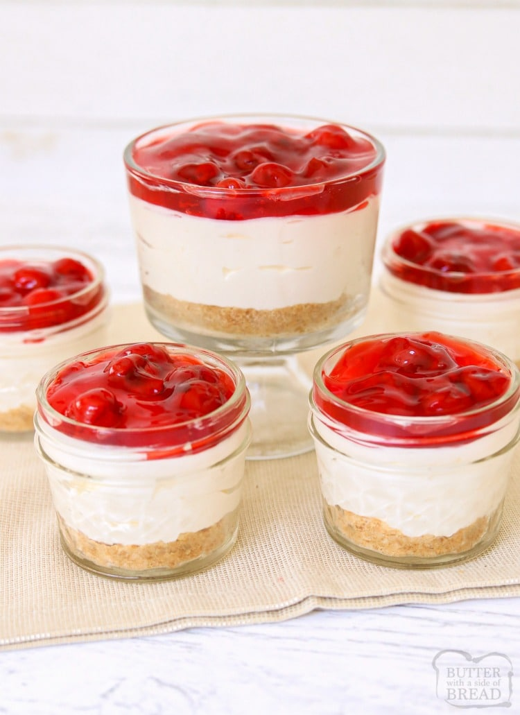 White Chocolate Cherry Cheesecakes are sweet & creamy no-bake cheesecakes topped with tangy cherry pie filling. Simple, easy to make cheesecake desserts perfect for entertaining!