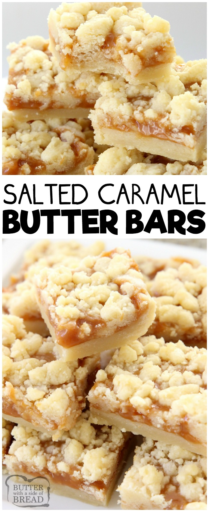 Salted Caramel Bar recipe made with a sweet shortbread crust & topped with smooth caramel and sea salt. Perfectly indulgent caramel butter bar dessert! #caramel #dessert #butter #baking #recipe from BUTTER WITH A SIDE OF BREAD